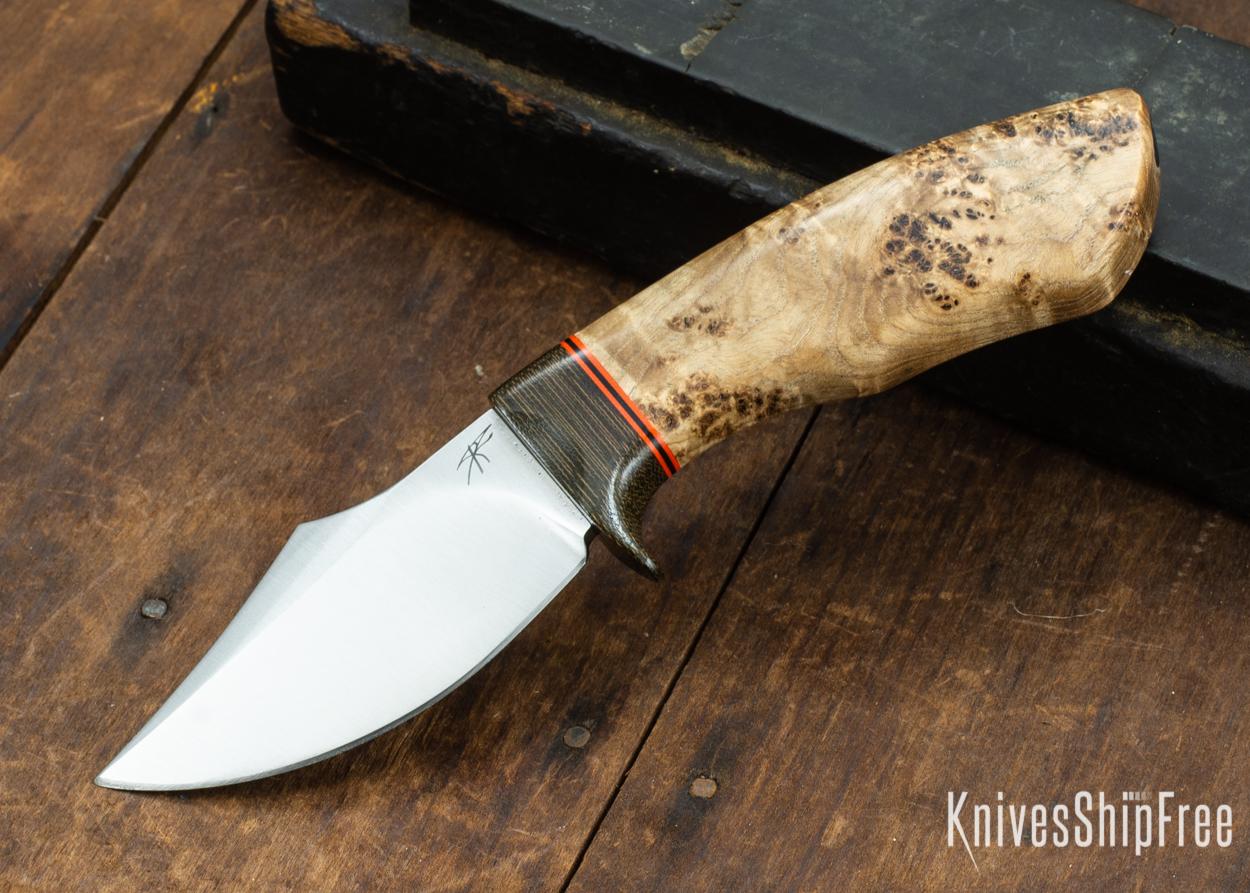 Dark Timber Knives: Dark Knight Skinner AEBL - Black Ash Burl - Green Guard - Org/Blk/Org Spacer - 121854