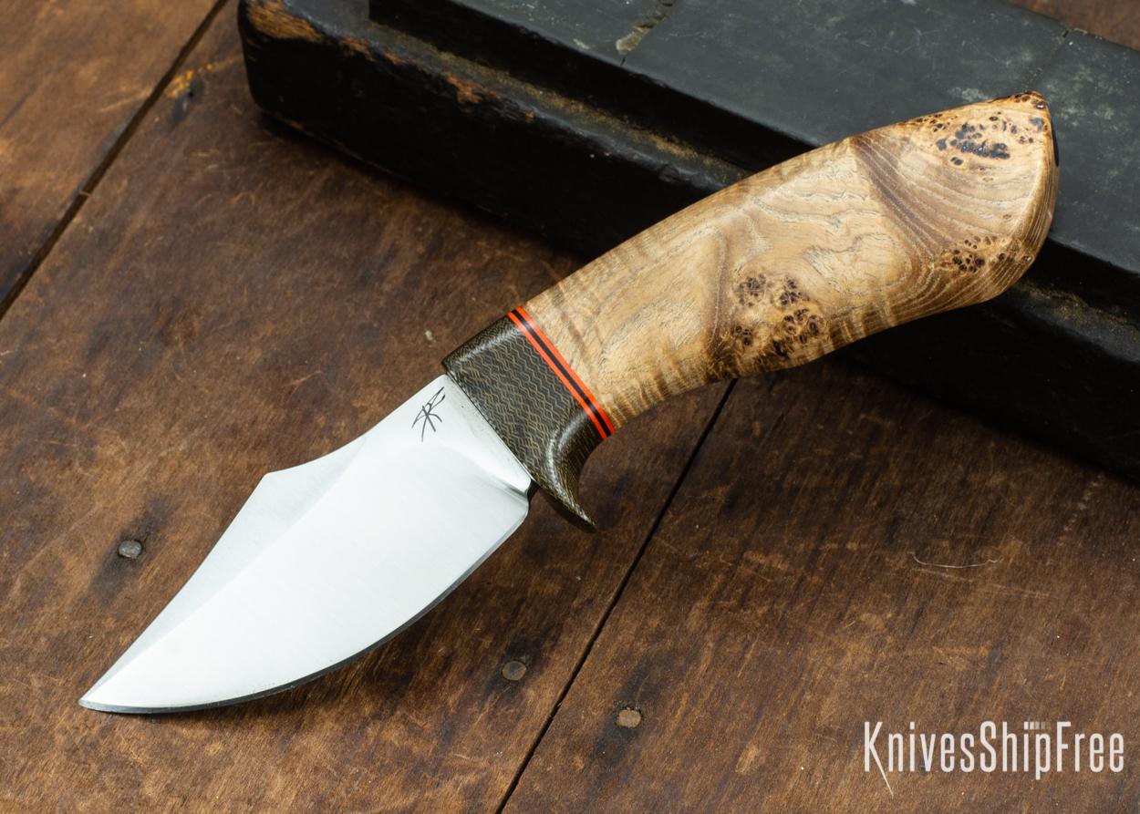 Dark Timber Knives: Dark Knight Skinner AEBL - Black Ash Burl - Green Guard - Org/Blk/Org Spacer - 121856