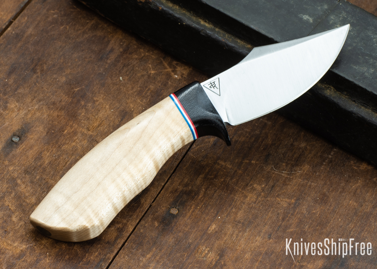 Dark Timber Knives: Dark Knight Skinner AEBL - Natural Curly Maple - Black Guard - Red/Wht/Blue Spacer - 121807