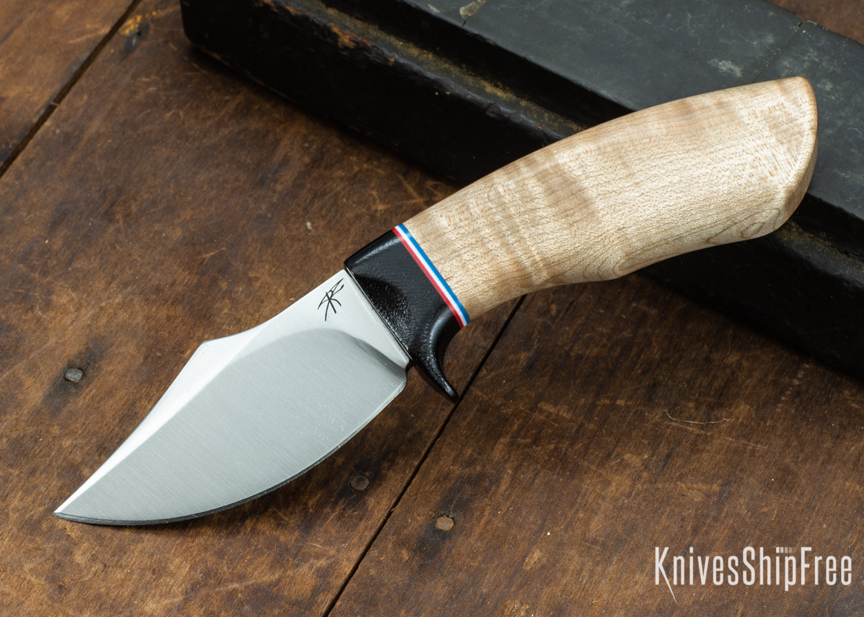 Dark Timber Knives: Dark Knight Skinner AEBL - Natural Curly Maple - Black Guard - Red/Wht/Blue Spacer - 121808