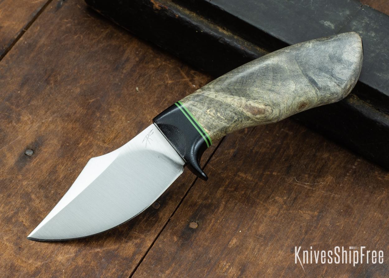 Dark Timber Knives: Dark Knight Skinner AEBL - Buckeye Burl - Black Guard - Grn/Blk/Grn Spacer - 121809