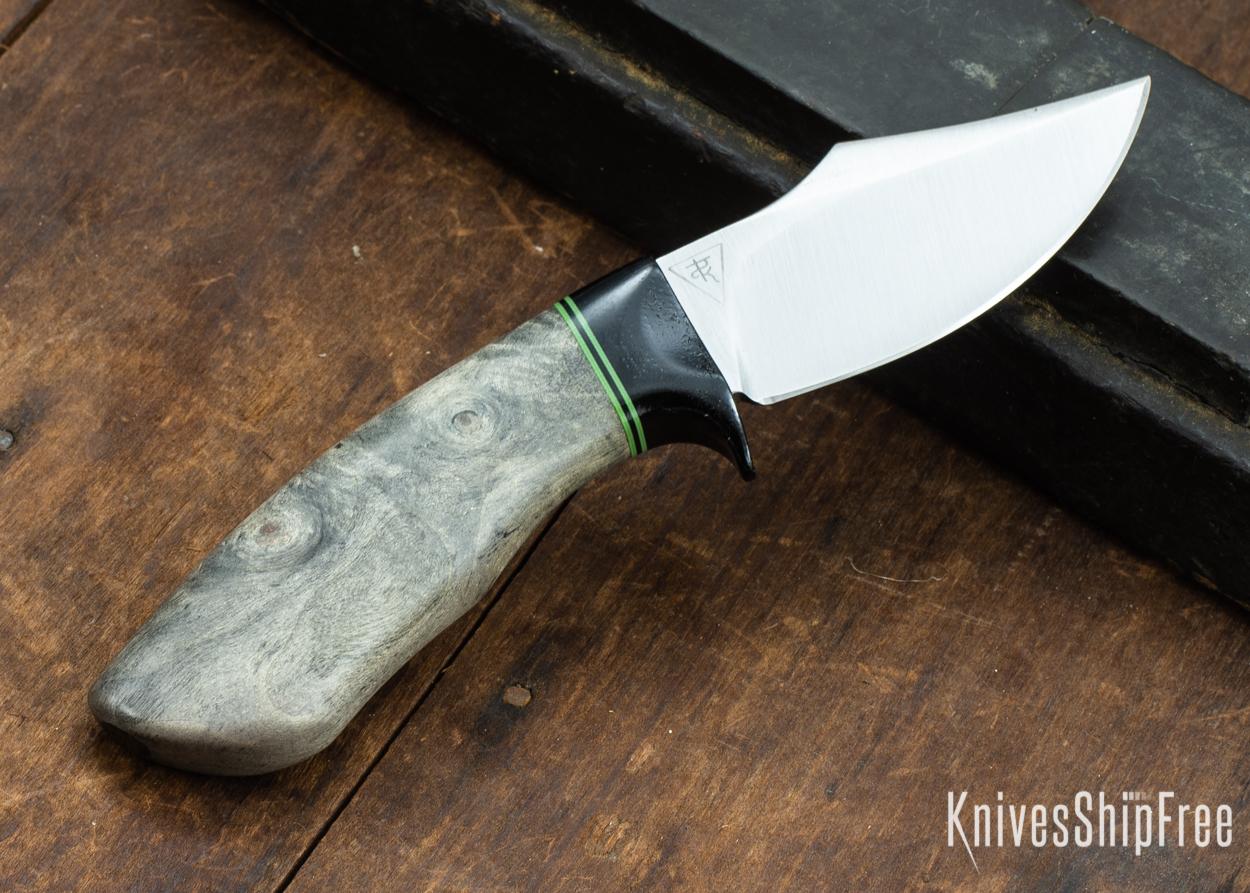 Dark Timber Knives: Dark Knight Skinner AEBL - Buckeye Burl - Black Guard - Grn/Blk/Grn Spacer - 121810