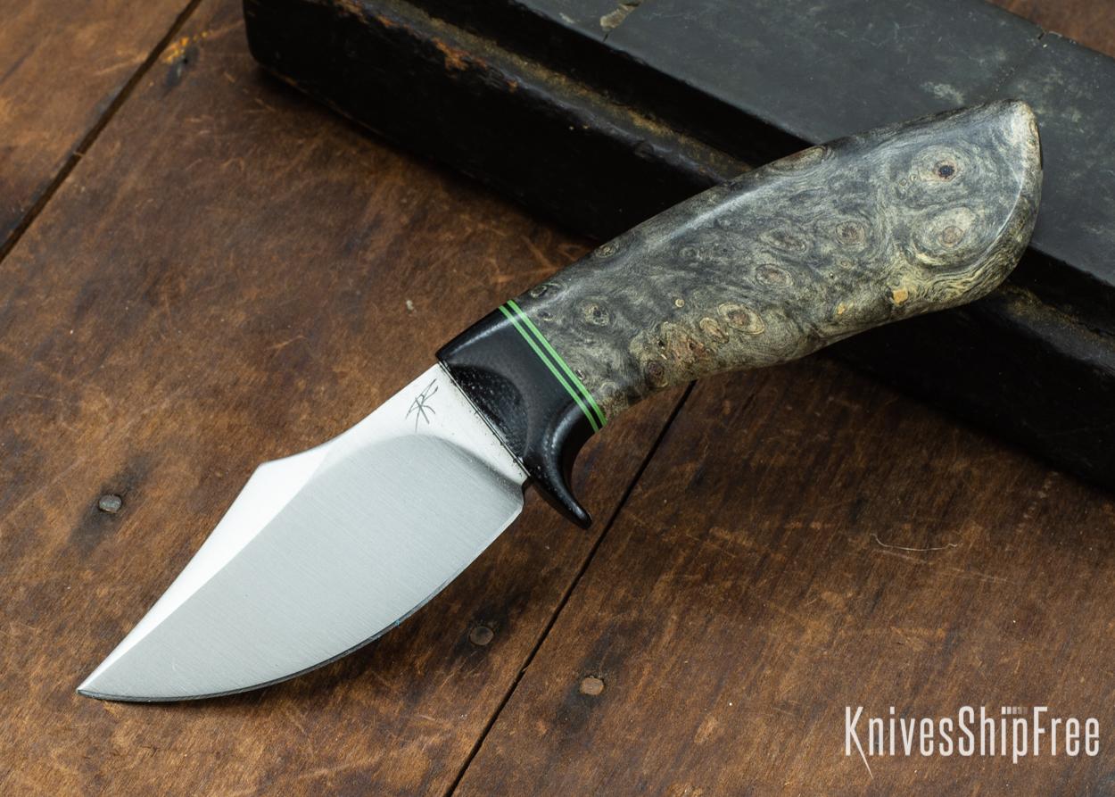 Dark Timber Knives: Dark Knight Skinner AEBL - Buckeye Burl - Black Guard - Grn/Blk/Grn Spacer - 121811