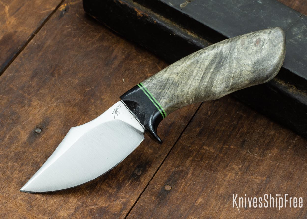 Dark Timber Knives: Dark Knight Skinner AEBL - Buckeye Burl - Black Guard - Grn/Blk/Grn Spacer - 121812