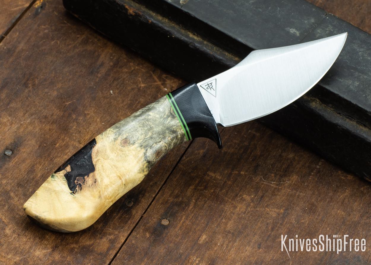 Dark Timber Knives: Dark Knight Skinner AEBL - Buckeye Burl - Black Guard - Grn/Blk/Grn Spacer - 121813