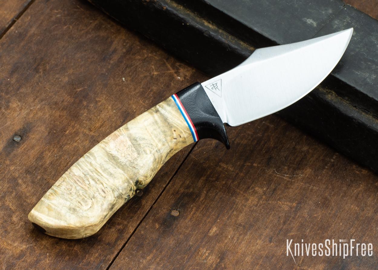 Dark Timber Knives: Dark Knight Skinner AEBL - Buckeye Burl - Black Guard - Red/Wht/Blue Spacer - 121815