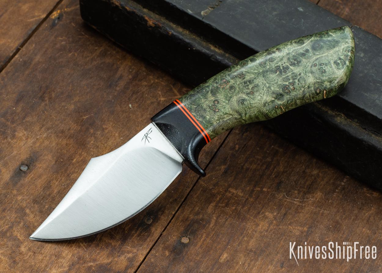 Dark Timber Knives: Dark Knight Skinner AEBL - Green Maple Burl - Black Guard - Org/Blk/Org Spacer - 121818