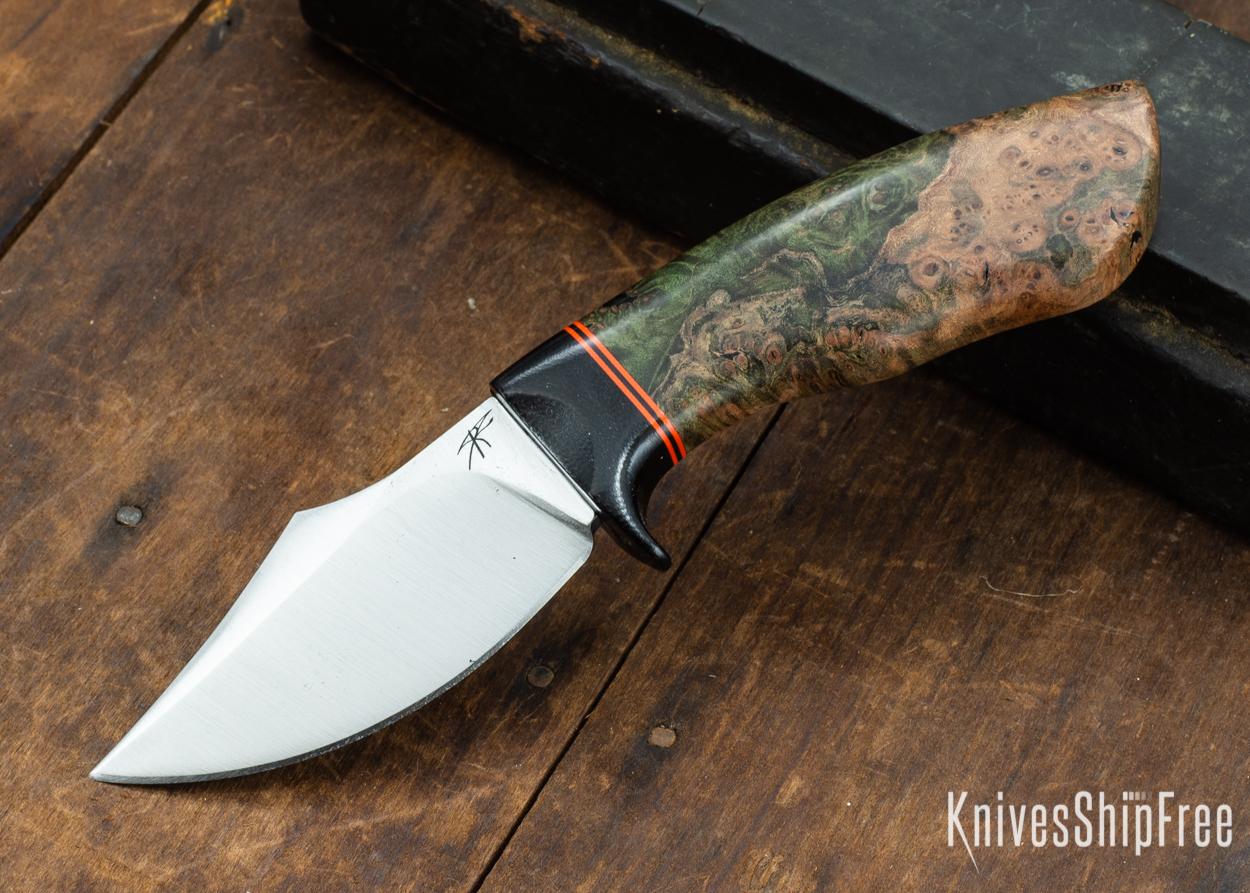 Dark Timber Knives: Dark Knight Skinner AEBL - Green Maple Burl - Black Guard - Org/Blk/Org Spacer - 121819