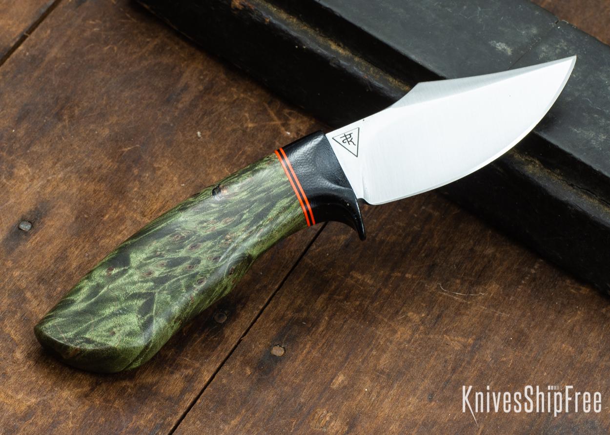 Dark Timber Knives: Dark Knight Skinner AEBL - Green Maple Burl - Black Guard - Org/Blk/Org Spacer - 121820