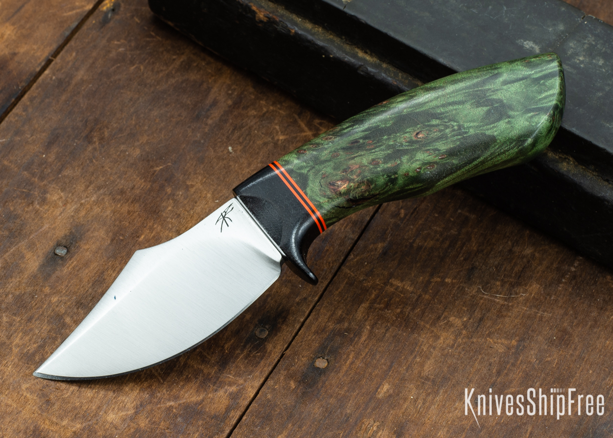 Dark Timber Knives: Dark Knight Skinner AEBL - Green Maple Burl - Black Guard - Org/Blk/Org Spacer - 121824