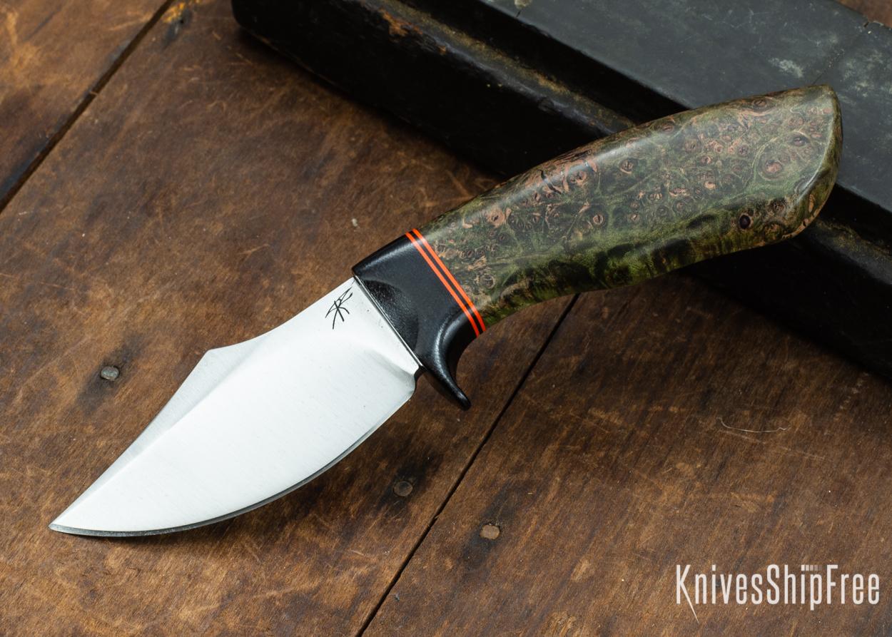 Dark Timber Knives: Dark Knight Skinner AEBL - Green Maple Burl - Black Guard - Org/Blk/Org Spacer - 121826