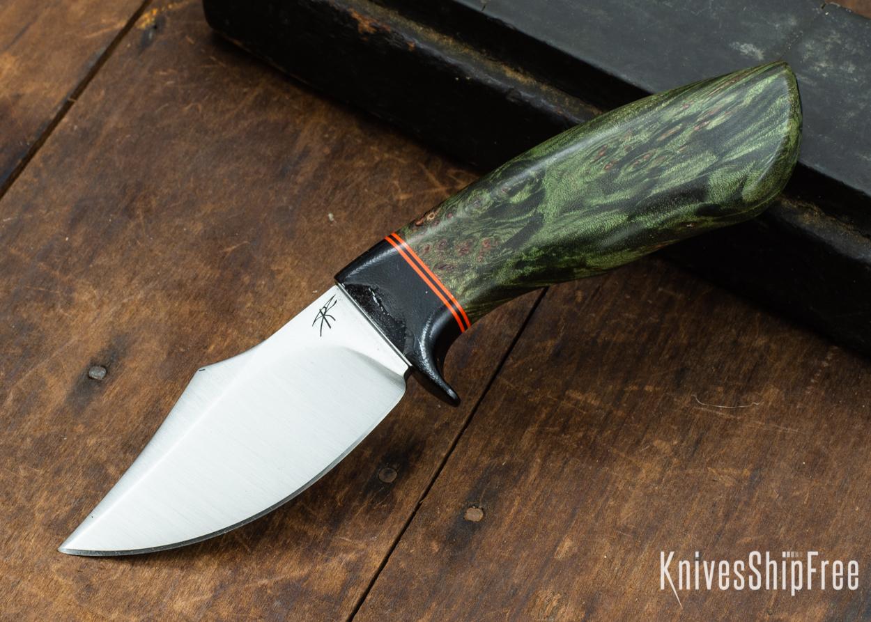 Dark Timber Knives: Dark Knight Skinner AEBL - Green Maple Burl - Black Guard - Org/Blk/Org Spacer - 121827