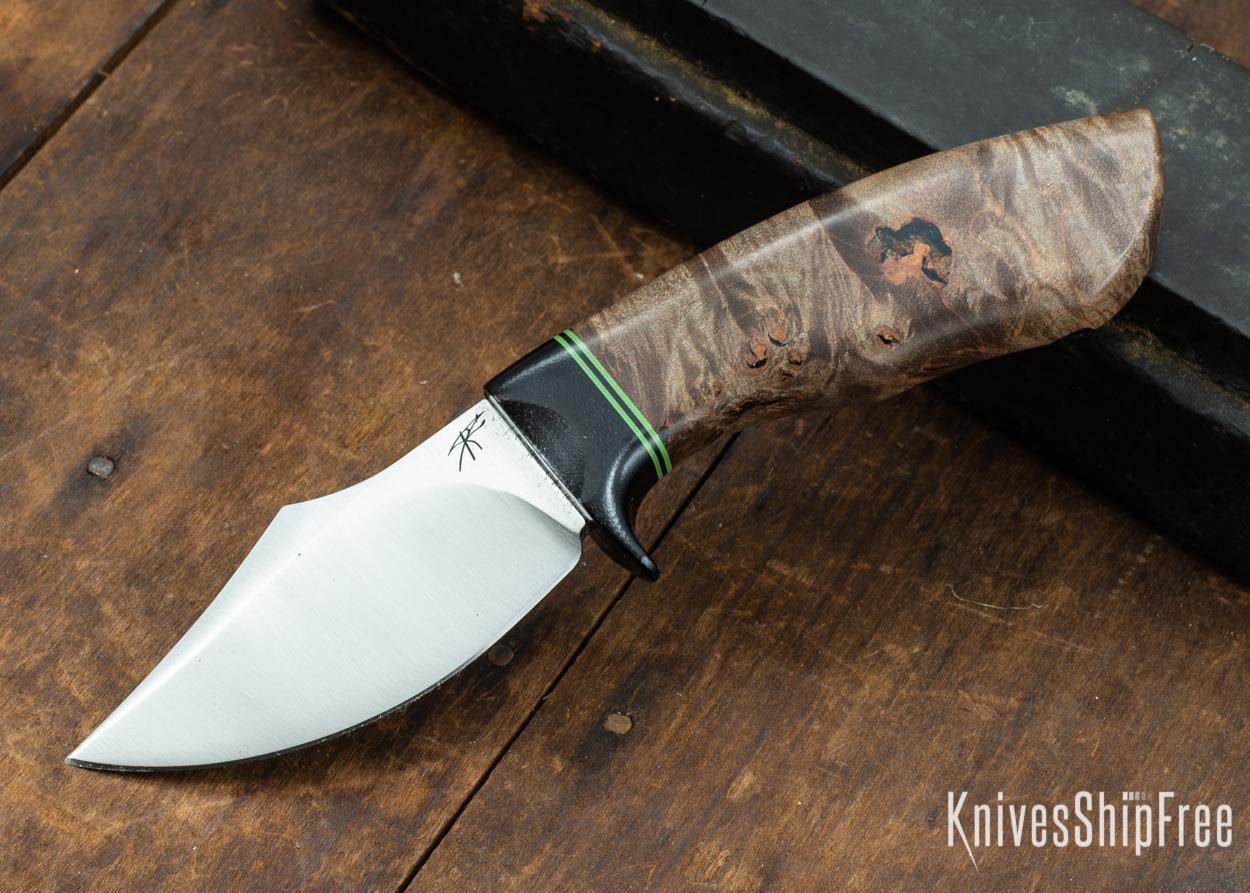 Dark Timber Knives: Dark Knight Skinner AEBL - Dark Maple Burl - Black Guard - Grn/Blk/Grn Spacer - 121829