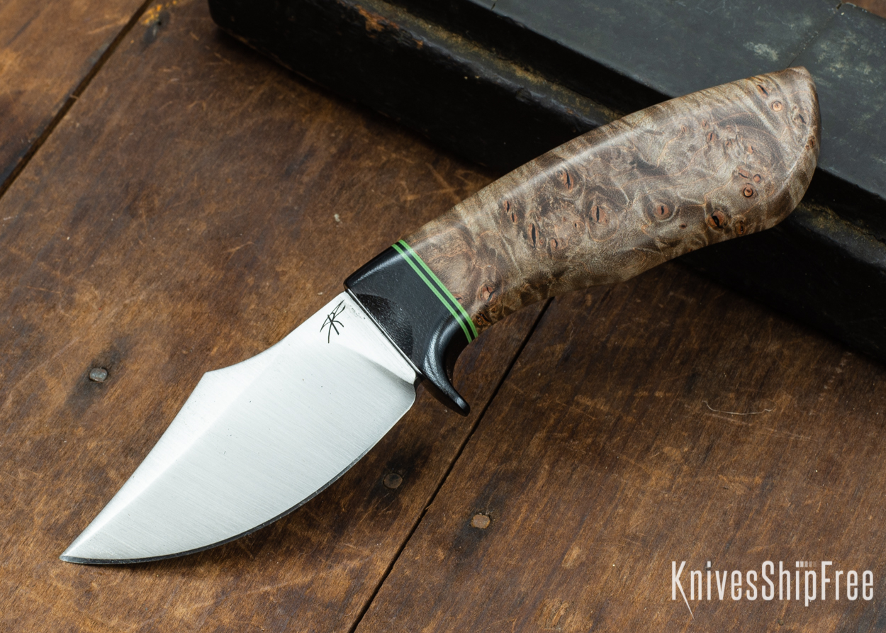 Dark Timber Knives: Dark Knight Skinner AEBL - Dark Maple Burl - Black Guard - Grn/Blk/Grn Spacer - 121830