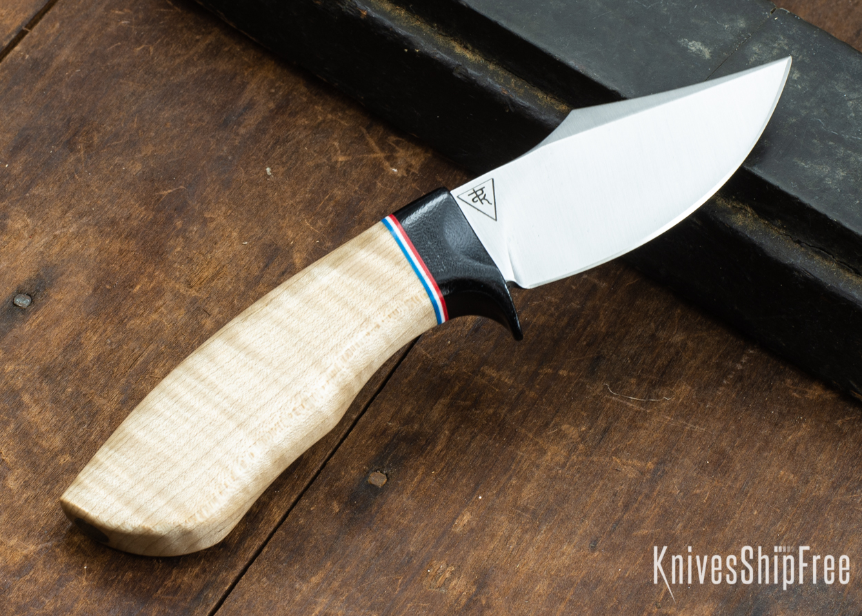 Dark Timber Knives: Dark Knight Skinner AEBL - Natural Curly Maple - Black Guard - Red/Wht/Blue Spacer - 121804