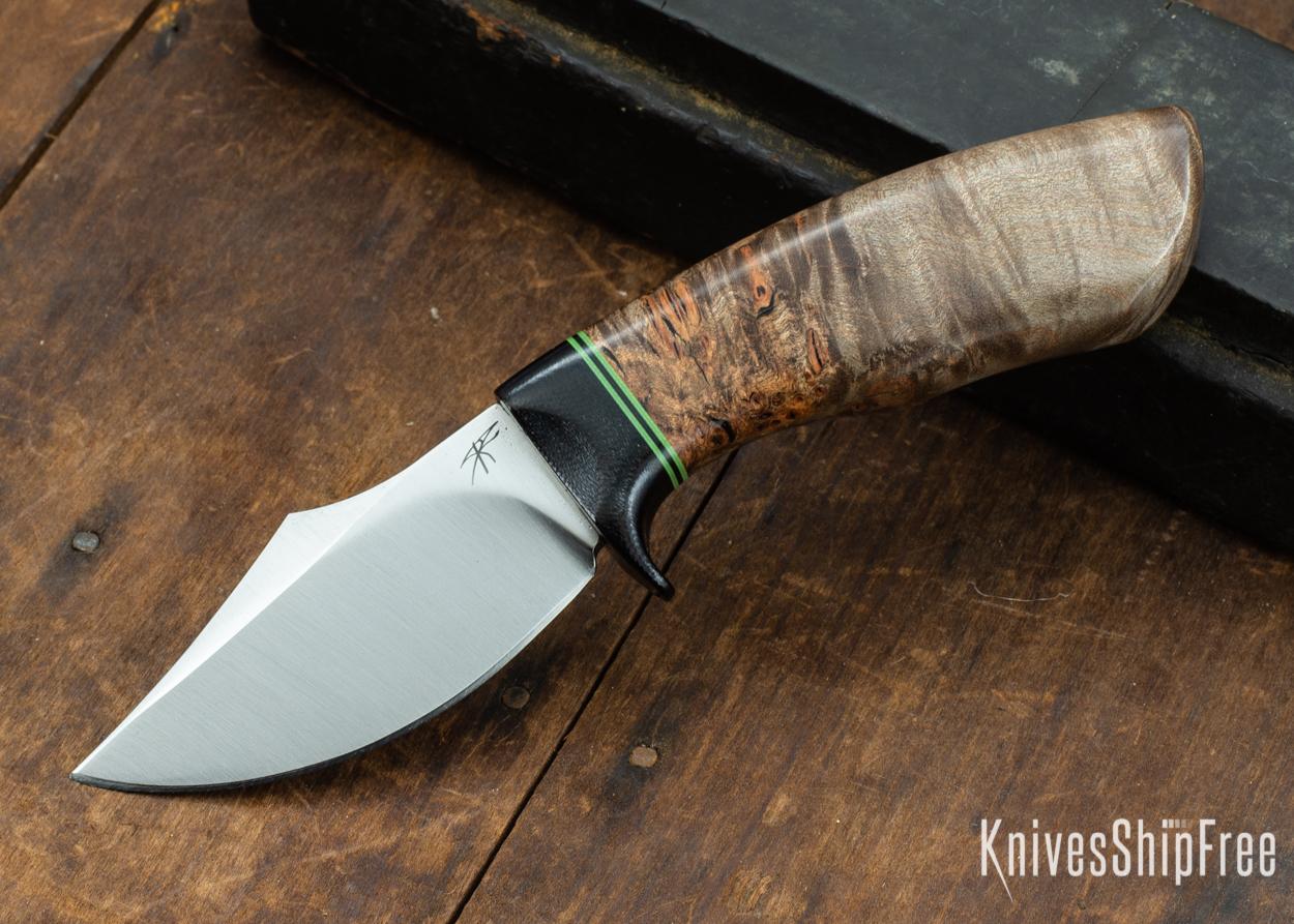 Dark Timber Knives: Dark Knight Skinner AEBL - Dark Maple Burl - Black Guard - Grn/Blk/Grn Spacer - 121832