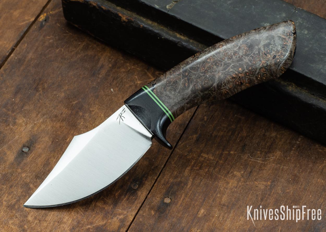Dark Timber Knives: Dark Knight Skinner AEBL - Dark Maple Burl - Black Guard - Grn/Blk/Grn Spacer - 121833