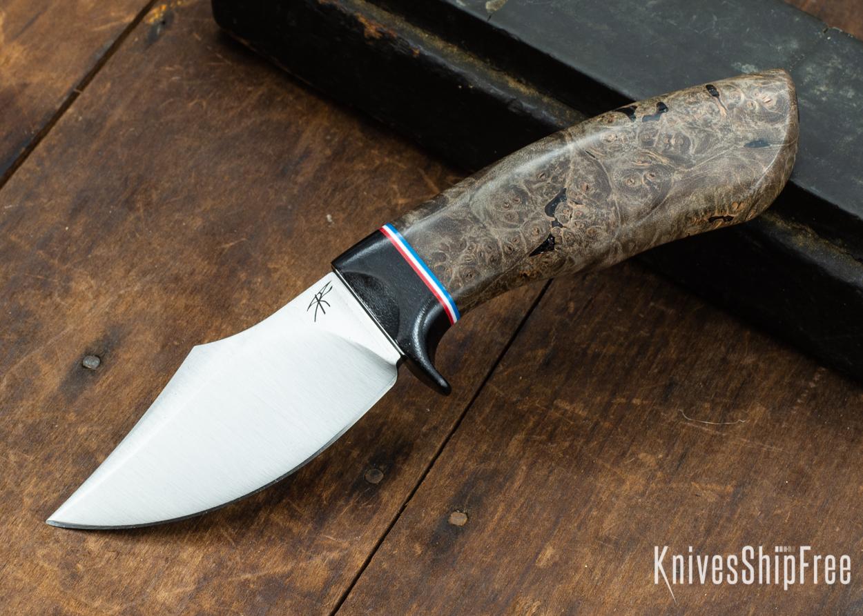 Dark Timber Knives: Dark Knight Skinner AEBL - Dark Maple Burl - Black Guard - Red/Wht/Blue Spacer - 121834
