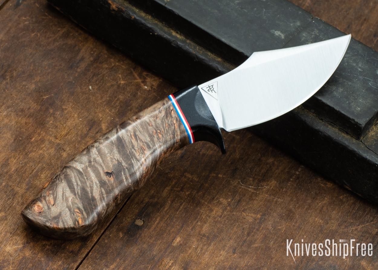 Dark Timber Knives: Dark Knight Skinner AEBL - Dark Maple Burl - Black Guard - Red/Wht/Blue Spacer - 121835