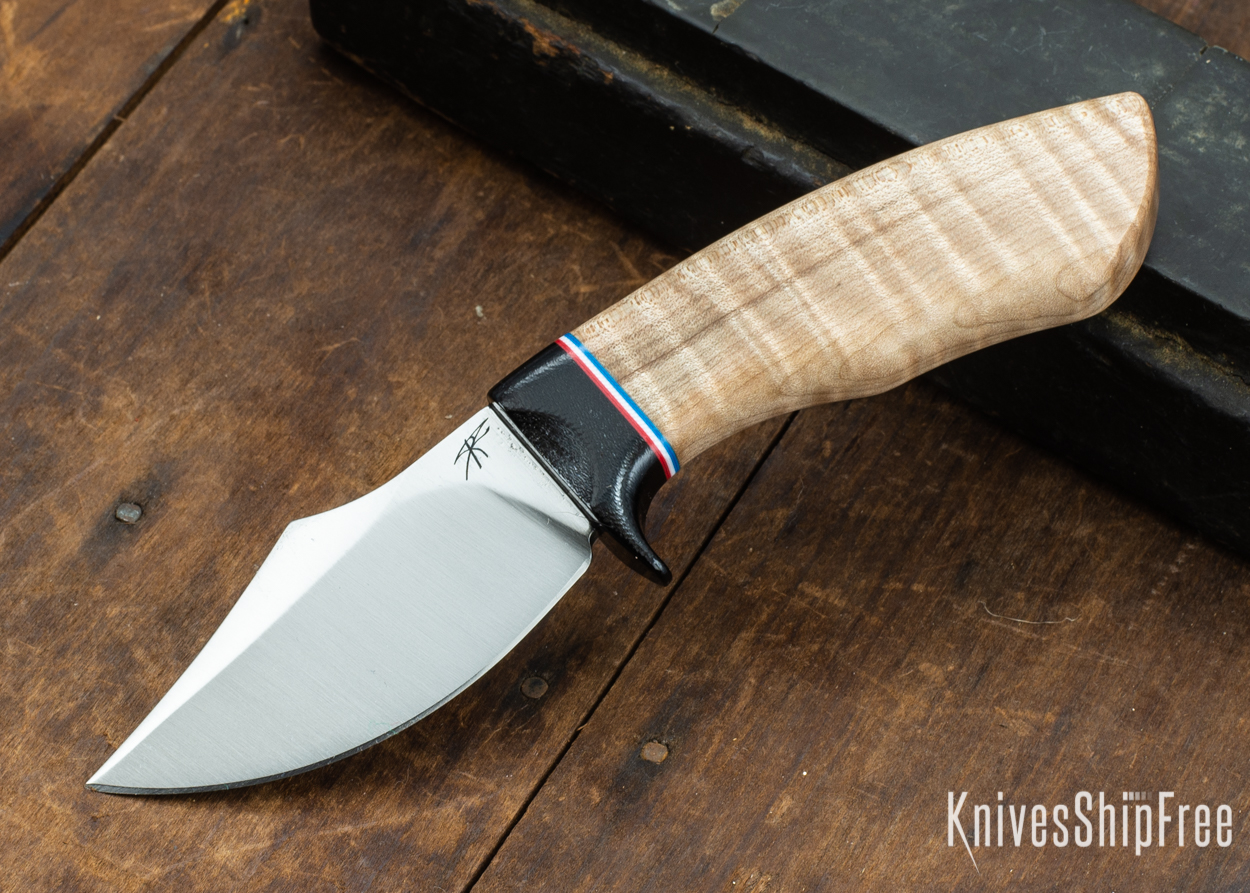 Dark Timber Knives: Dark Knight Skinner AEBL - Natural Curly Maple - Black Guard - Red/Wht/Blue Spacer - 121805