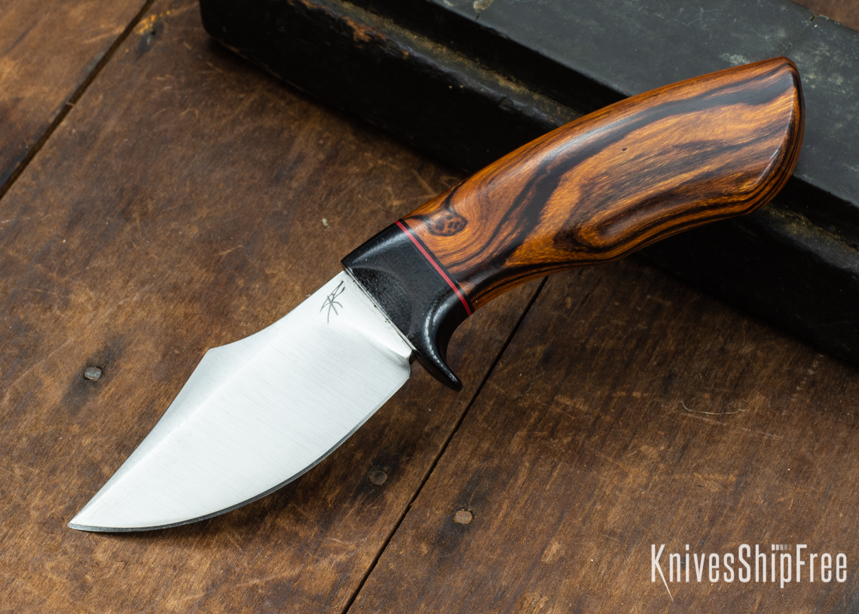 Dark Timber Knives: Dark Knight Skinner AEBL - Desert Ironwood - Black Guard - Blk/Red/Blk Spacer - 121842