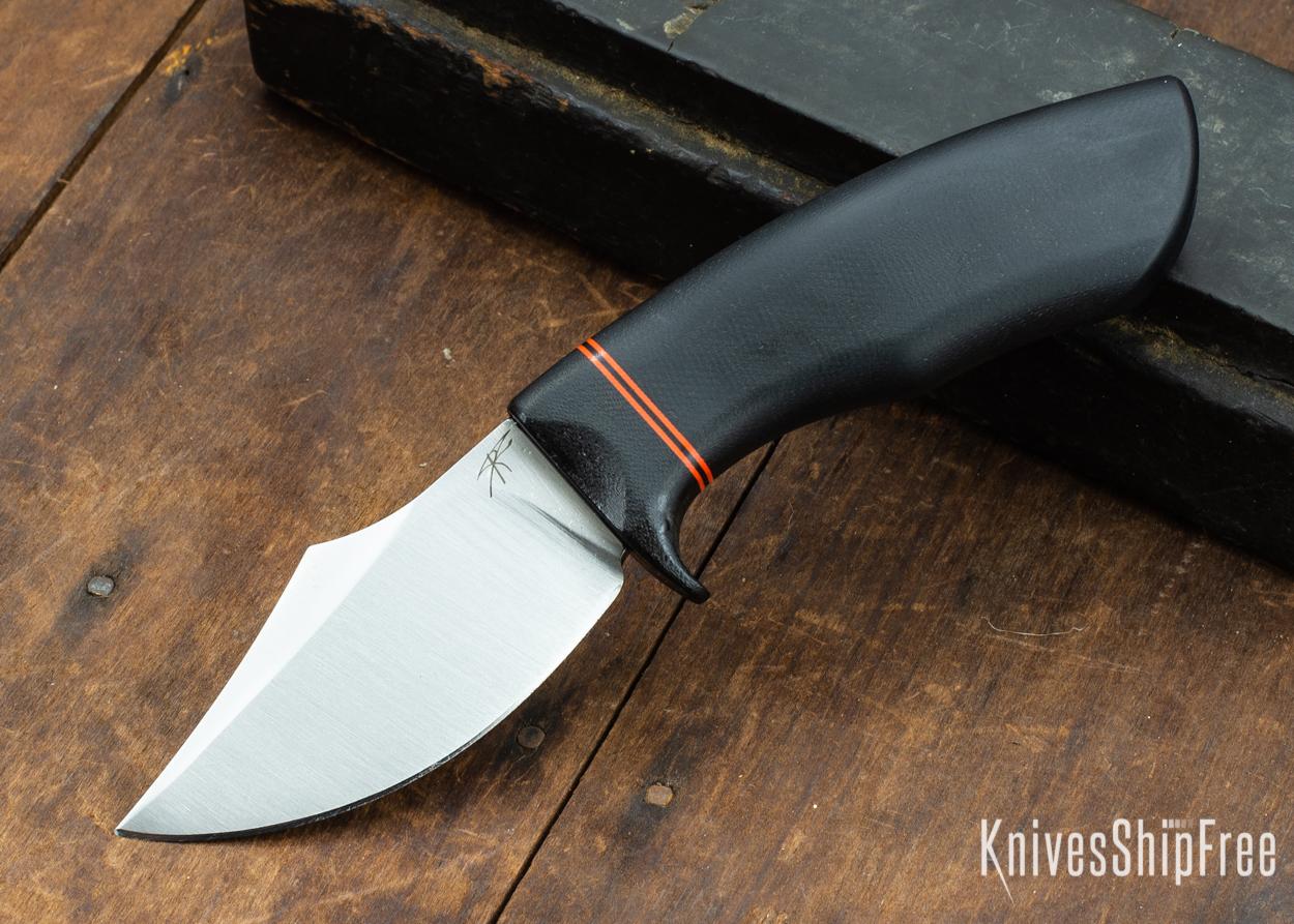 Dark Timber Knives: Dark Knight Skinner AEBL - Black Micarta - Black Guard - Org/Blk/Org Spacer