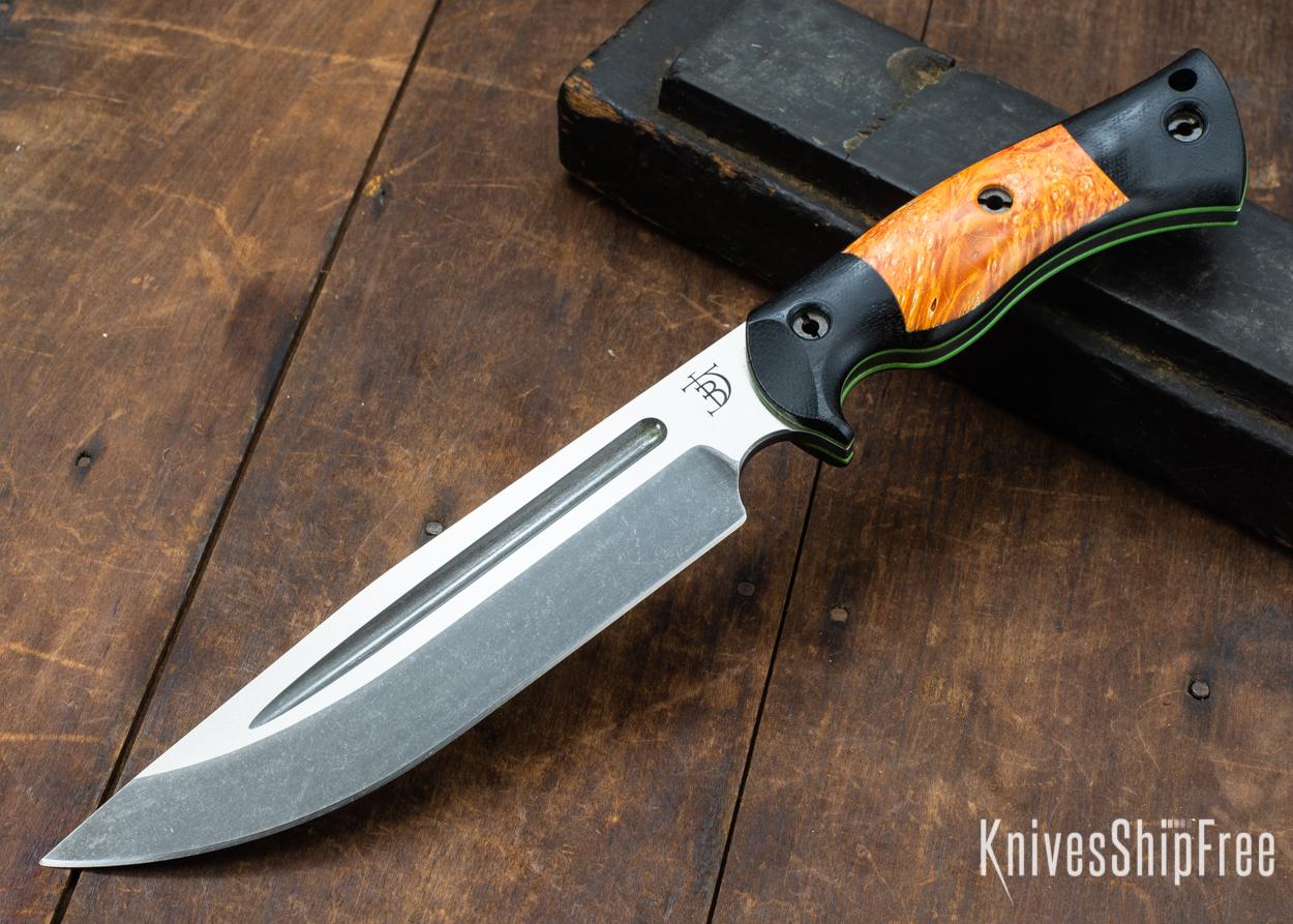 Dark Timber Knives: Honey Badger 3V - Black Micarta - Blaze Orange Box Elder - Green Liners - Acid Washed - 121612