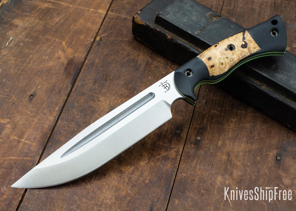 Dark Timber Knives: Honey Badger 3V - Black Micarta - Buckeye Burl - Green Liners - Satin - 121651