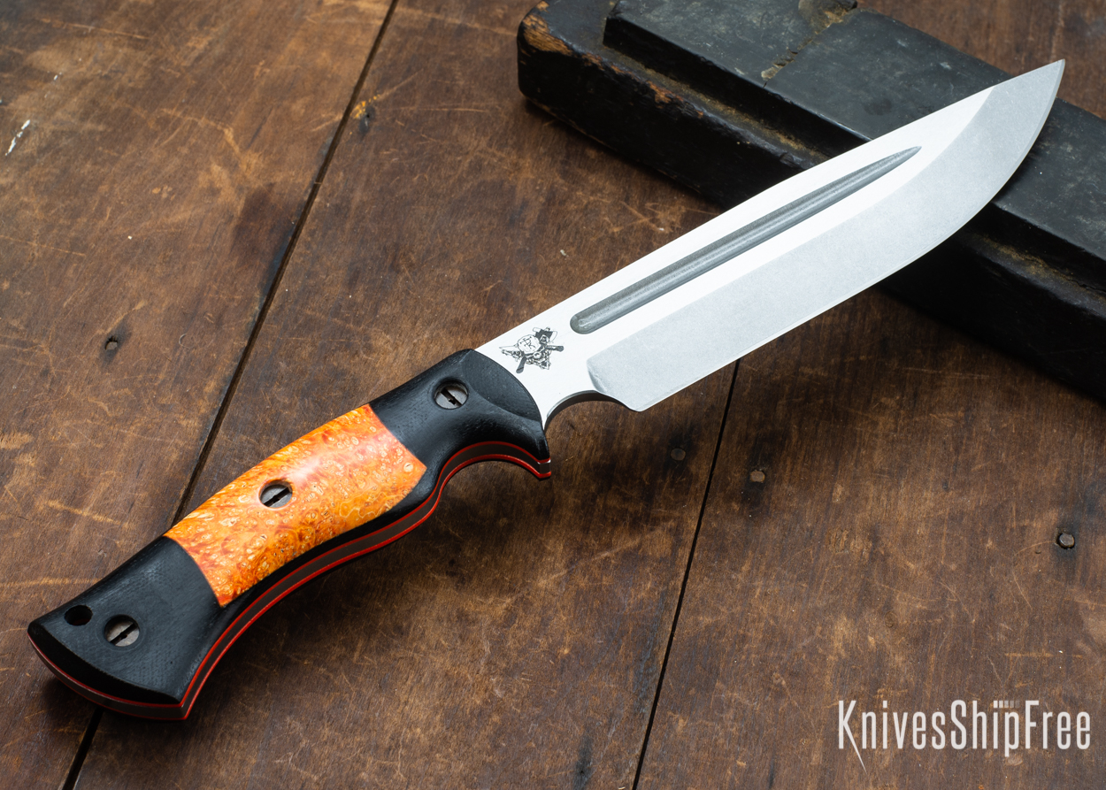Dark Timber Knives: Honey Badger 3V - Black Micarta - Blaze Orange Box Elder - Orange Liners - Tumbled - 121610