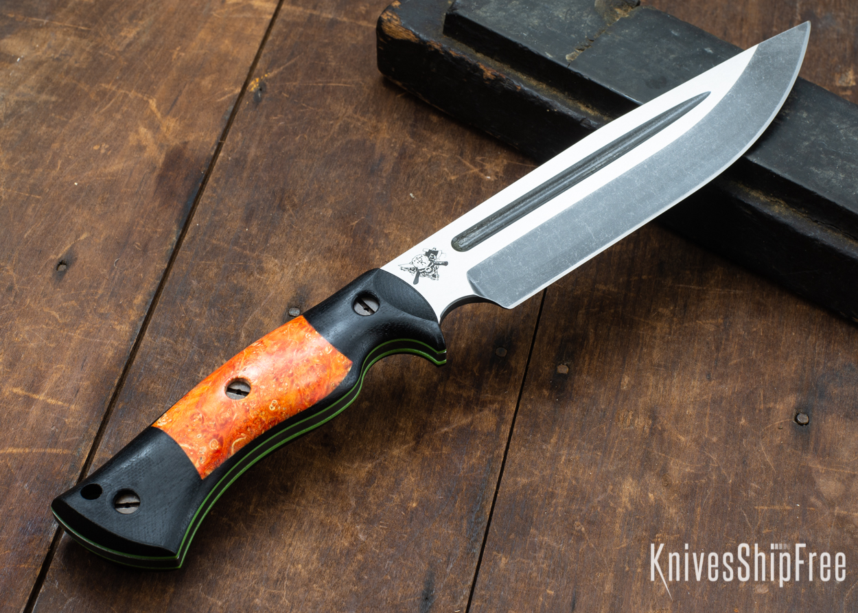 Dark Timber Knives: Honey Badger 3V - Black Micarta - Blaze Orange Box Elder - Green Liners - Acid Washed - 121611