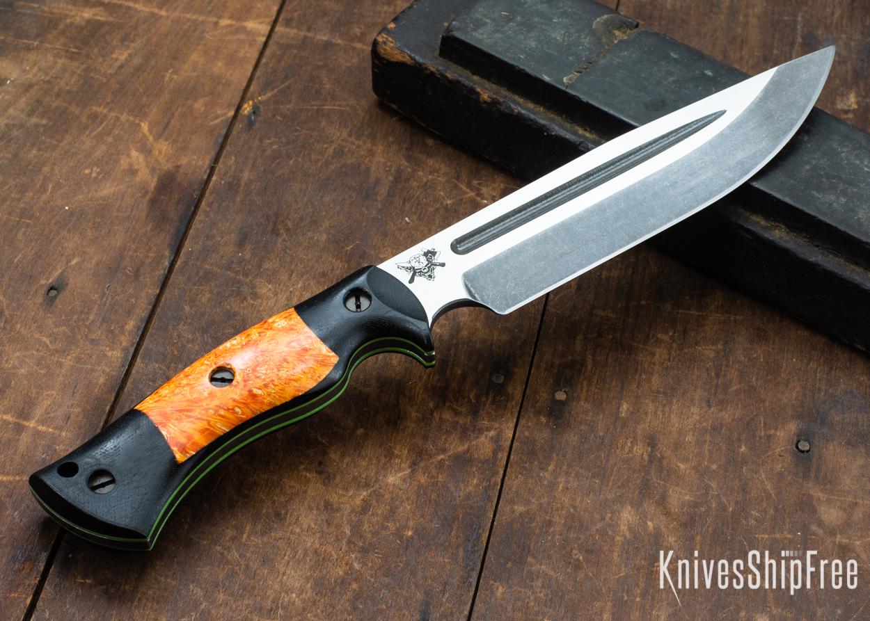 Dark Timber Knives: Honey Badger 3V - Black Micarta - Blaze Orange Box Elder - Green Liners - Acid Washed - 121613