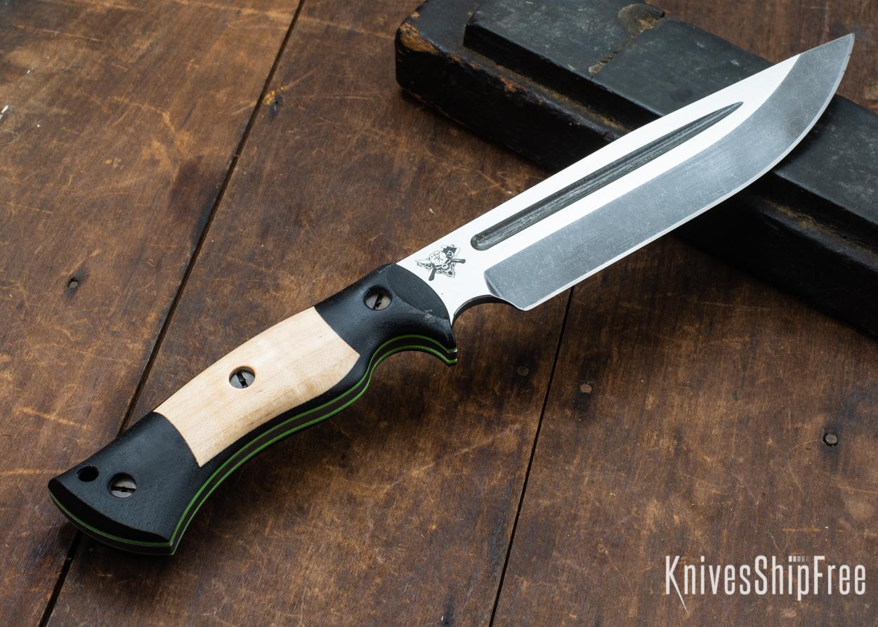 Dark Timber Knives: Honey Badger 3V - Black Micarta - Natural Curly Maple - Green Liners - Acid Washed - 121617