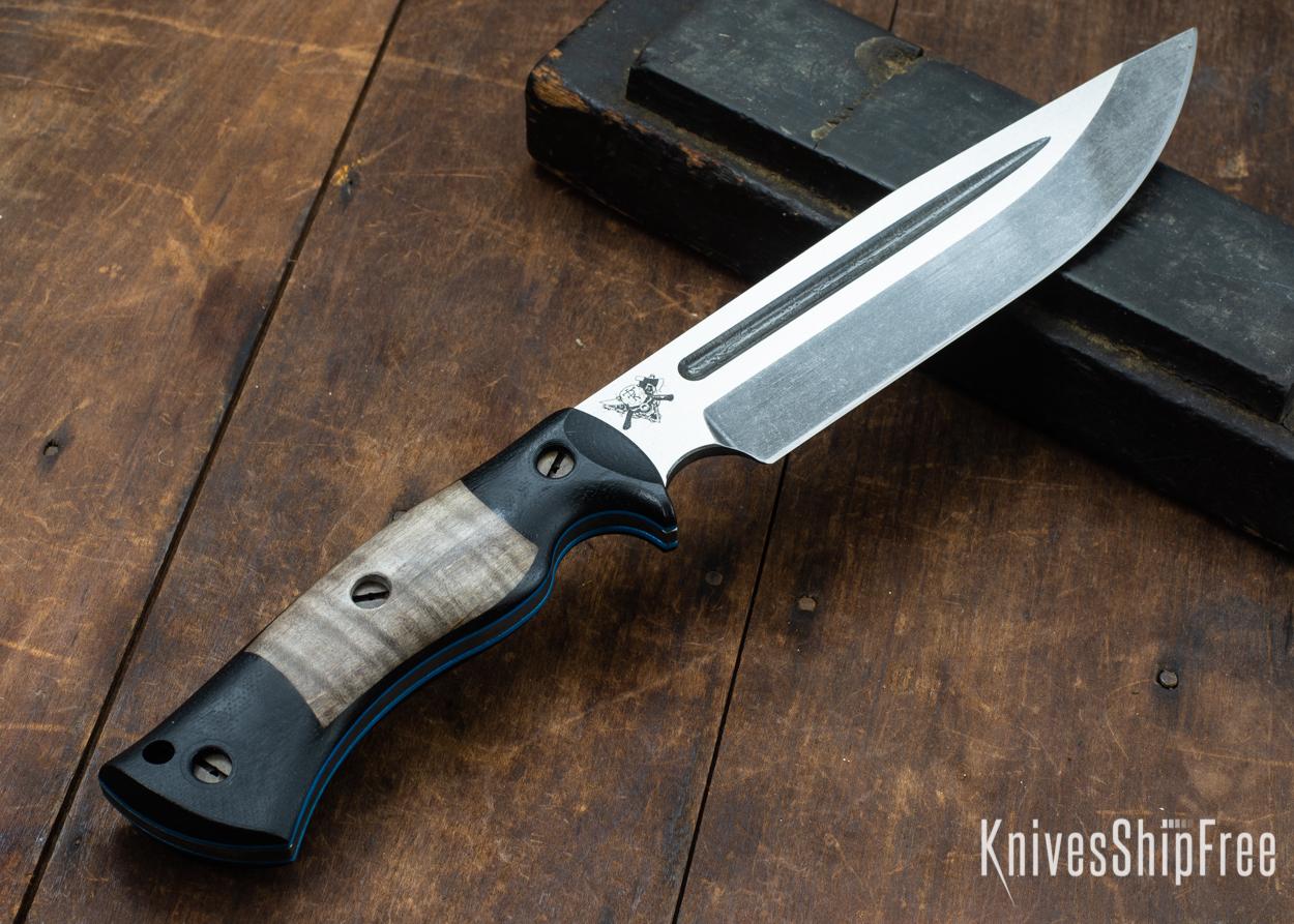 Dark Timber Knives: Honey Badger 3V - Black Micarta - Gray Curly Maple - Blue Liners - Acid Washed - 121619