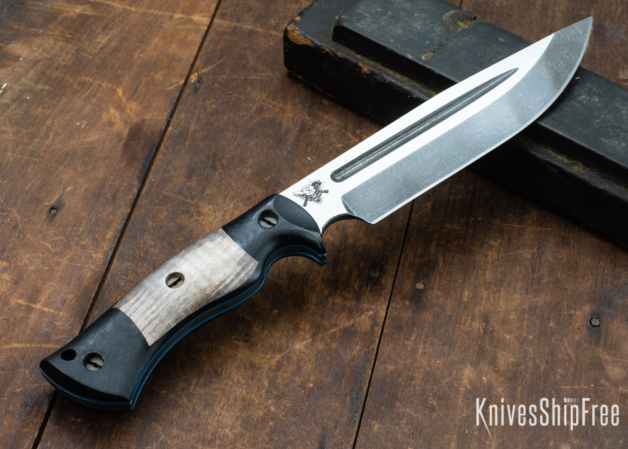 Dark Timber Knives: Honey Badger 3V - Black Micarta - Gray Curly Maple - Blue Liners - Acid Washed - 121620