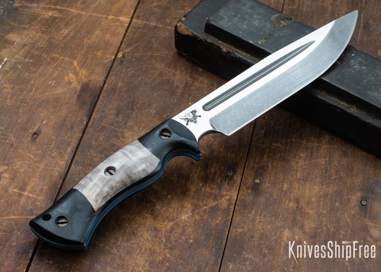 Dark Timber Knives: Honey Badger 3V - Black Micarta - Gray Curly Maple - Blue Liners - Acid Washed - 121622