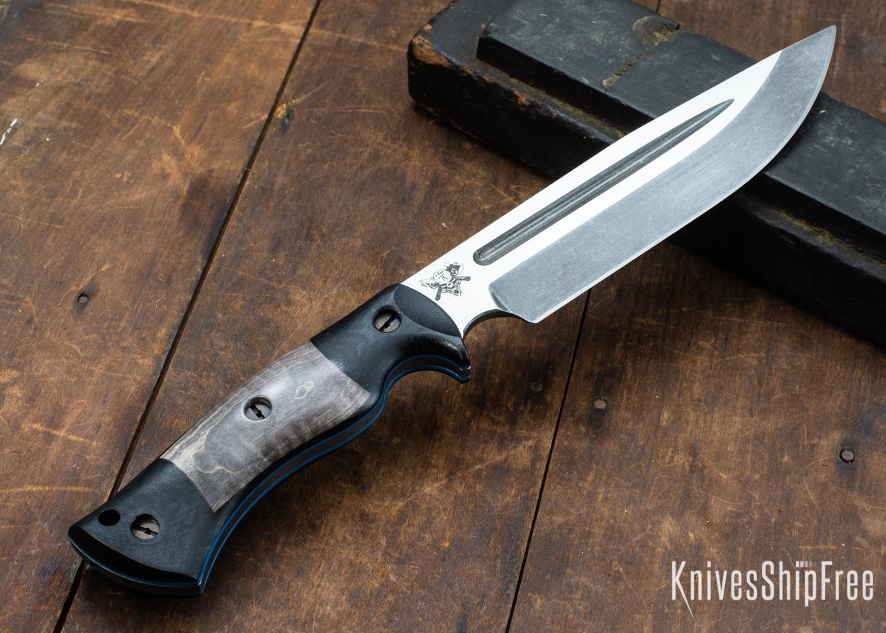 Dark Timber Knives: Honey Badger 3V - Black Micarta - Gray Curly Maple - Blue Liners - Acid Washed - 121623
