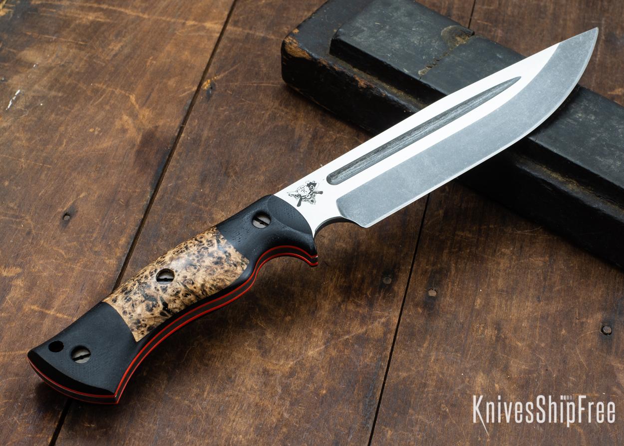 Dark Timber Knives: Honey Badger 3V - Black Micarta - Black Ash Burl - Orange Liners - Acid Washed - 121625