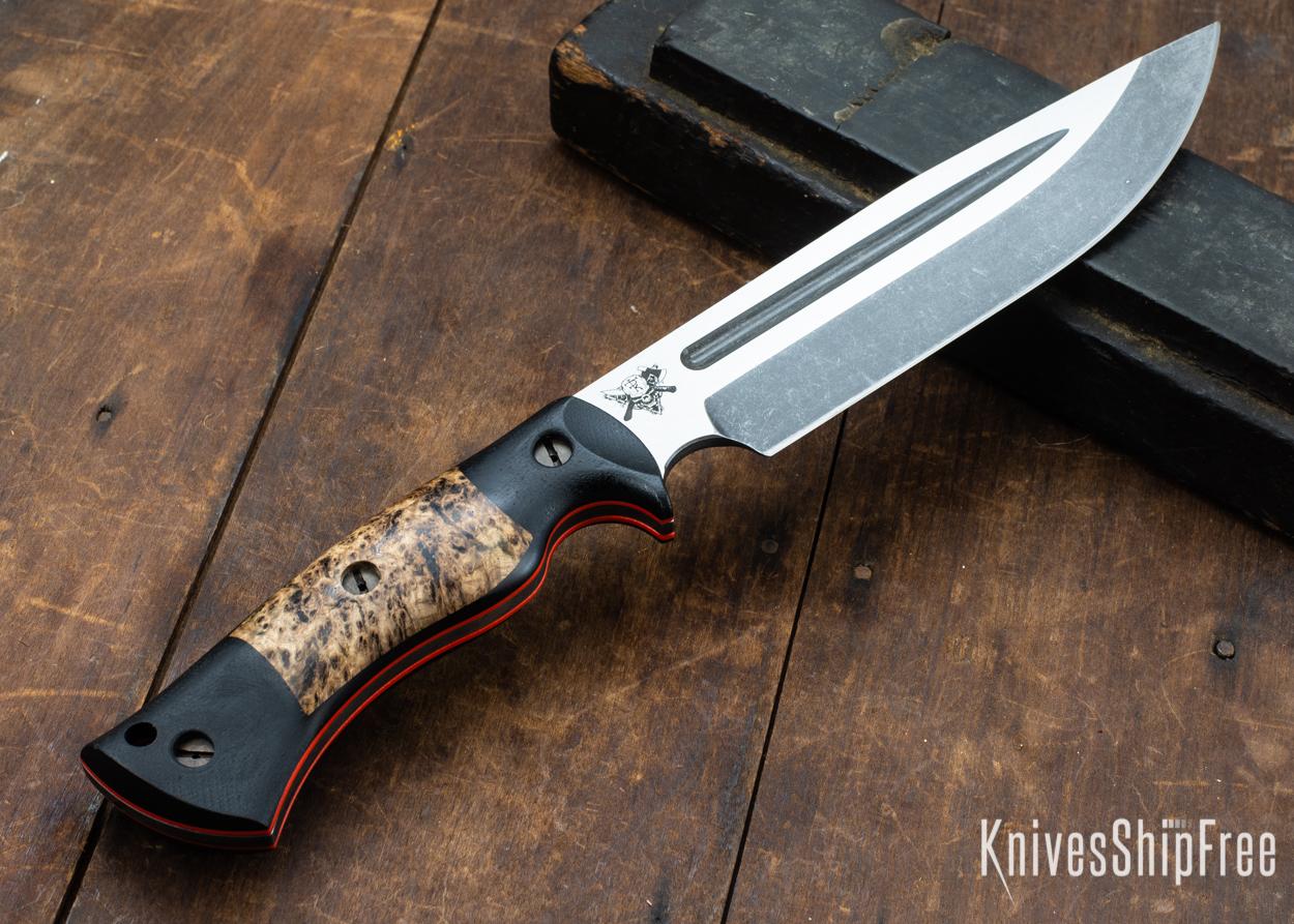 Dark Timber Knives: Honey Badger 3V - Black Micarta - Black Ash Burl - Orange Liners - Acid Washed - 121626