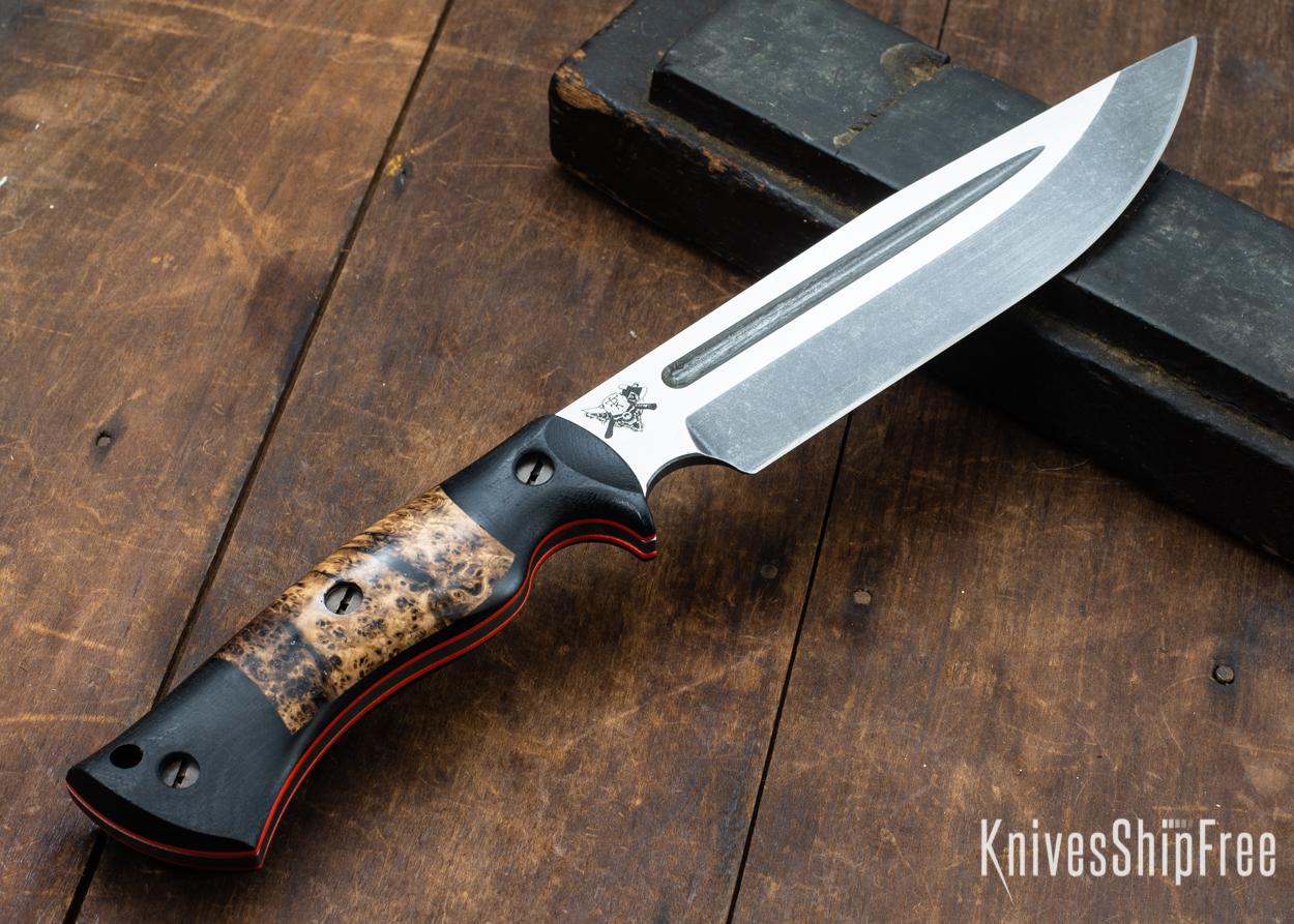 Dark Timber Knives: Honey Badger 3V - Black Micarta - Black Ash Burl - Orange Liners - Acid Washed - 121628