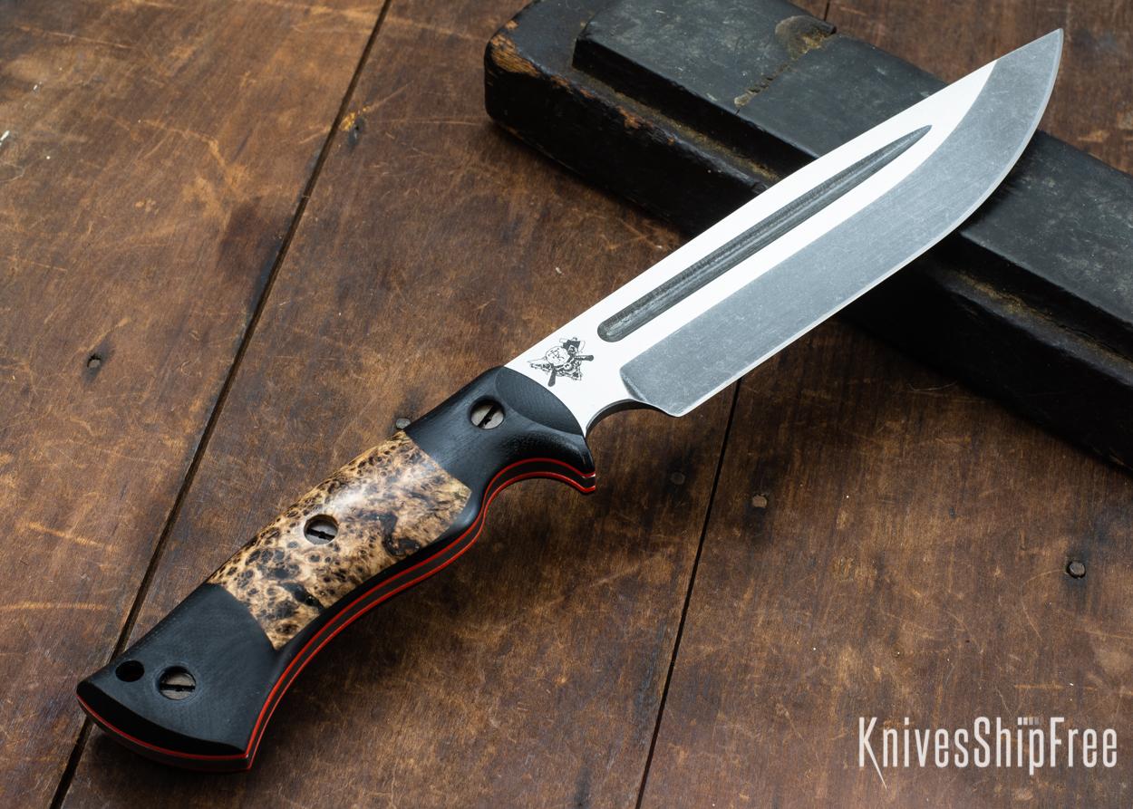 Dark Timber Knives: Honey Badger 3V - Black Micarta - Black Ash Burl - Orange Liners - Acid Washed - 121629