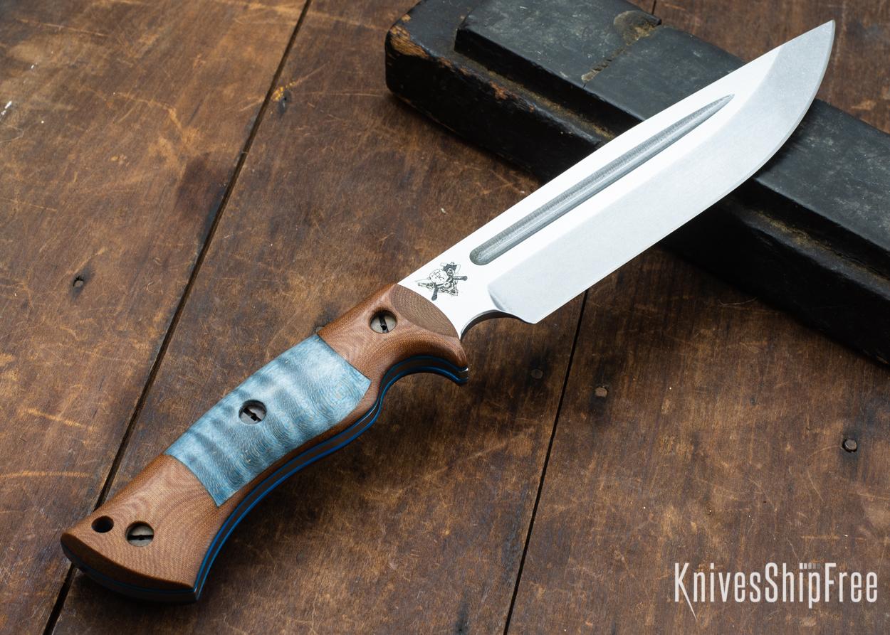 Dark Timber Knives: Honey Badger 3V - Natural Micarta - Blue Curly Maple - Blue Liners - Tumbled - 121631
