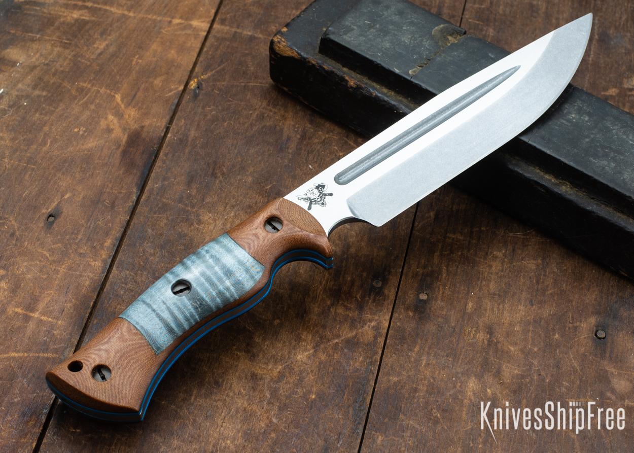 Dark Timber Knives: Honey Badger 3V - Natural Micarta - Blue Curly Maple - Blue Liners - Tumbled - 121632