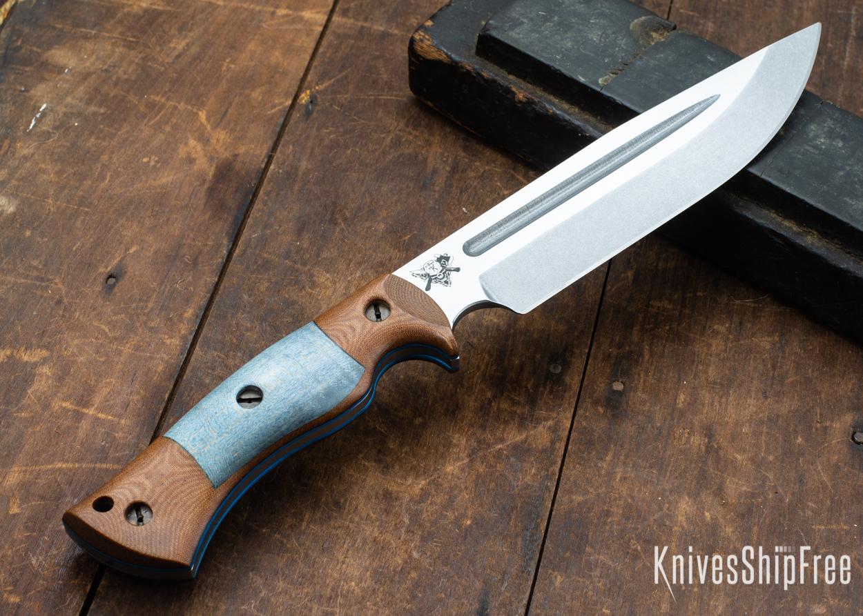 Dark Timber Knives: Honey Badger 3V - Natural Micarta - Blue Curly Maple - Blue Liners - Tumbled - 121633