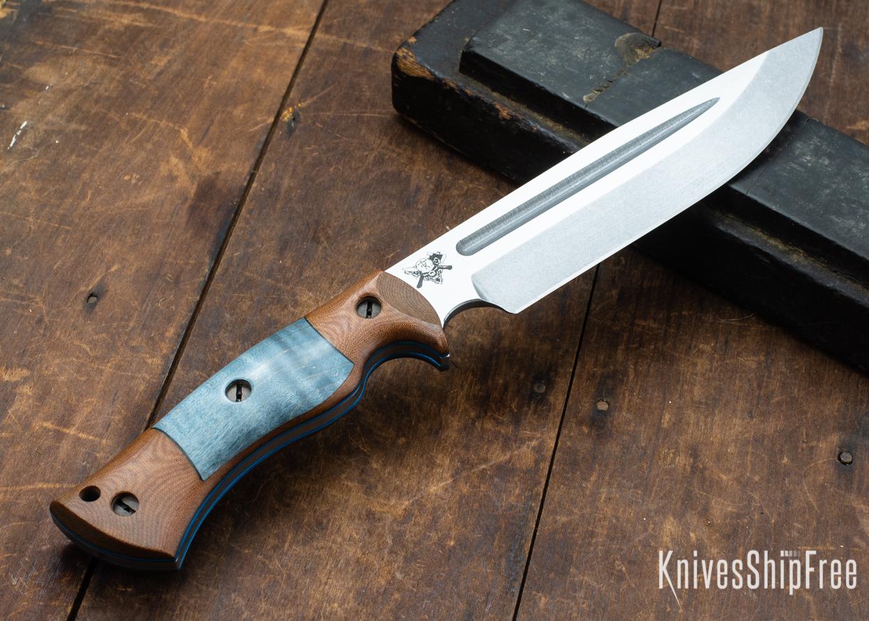 Dark Timber Knives: Honey Badger 3V - Natural Micarta - Blue Curly Maple - Blue Liners - Tumbled - 121634