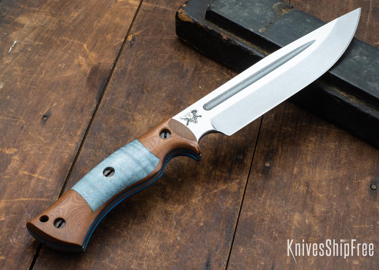 Dark Timber Knives: Honey Badger 3V - Natural Micarta - Blue Curly Maple - Blue Liners - Tumbled - 121635