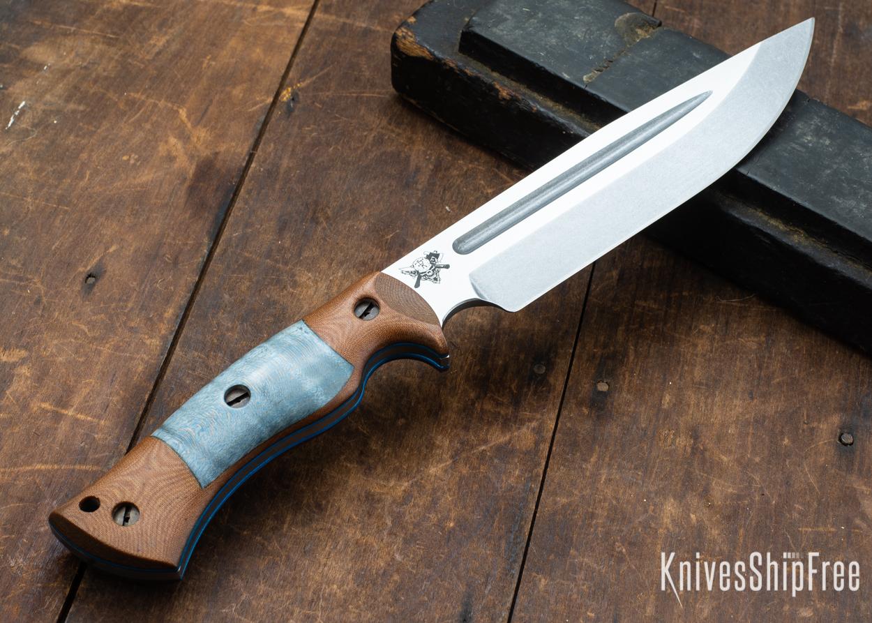 Dark Timber Knives: Honey Badger 3V - Natural Micarta - Blue Curly Maple - Blue Liners - Tumbled - 121636