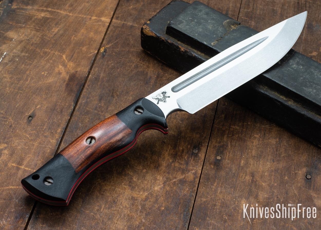 Dark Timber Knives: Honey Badger 3V - Black Micarta - Desert Ironwood - Red Liners - Tumbled - 121637