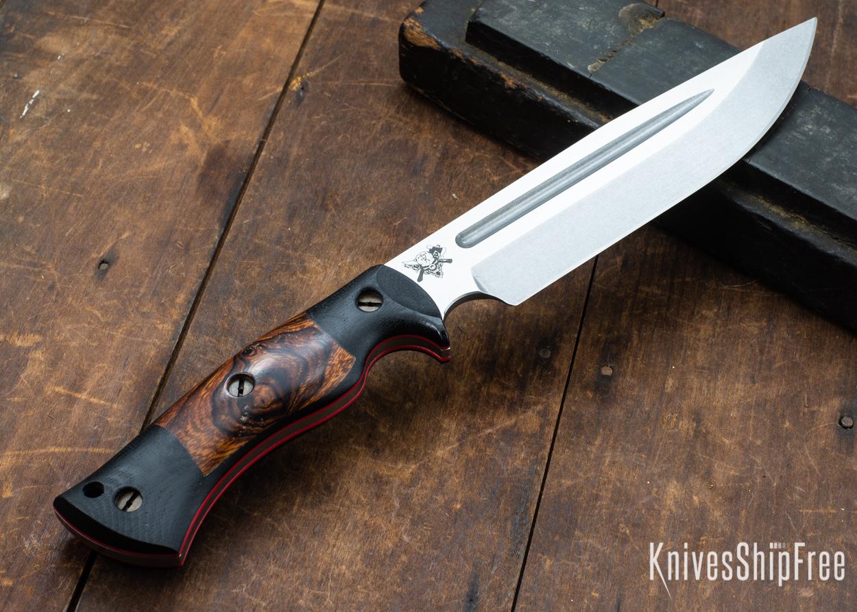 Dark Timber Knives: Honey Badger 3V - Black Micarta - Desert Ironwood - Red Liners - Tumbled - 121638
