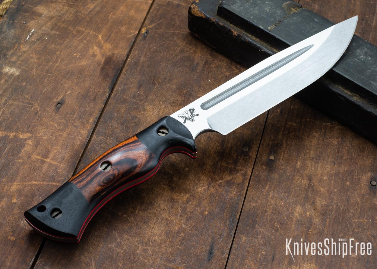 Dark Timber Knives: Honey Badger 3V - Black Micarta - Desert Ironwood - Red Liners - Tumbled - 121639