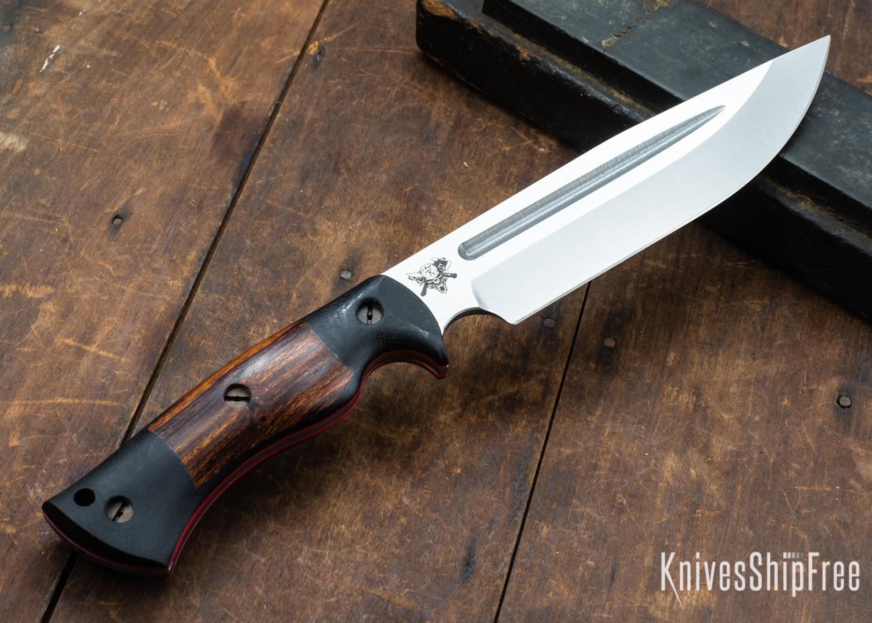 Dark Timber Knives: Honey Badger 3V - Black Micarta - Desert Ironwood - Red Liners - Satin - 121643